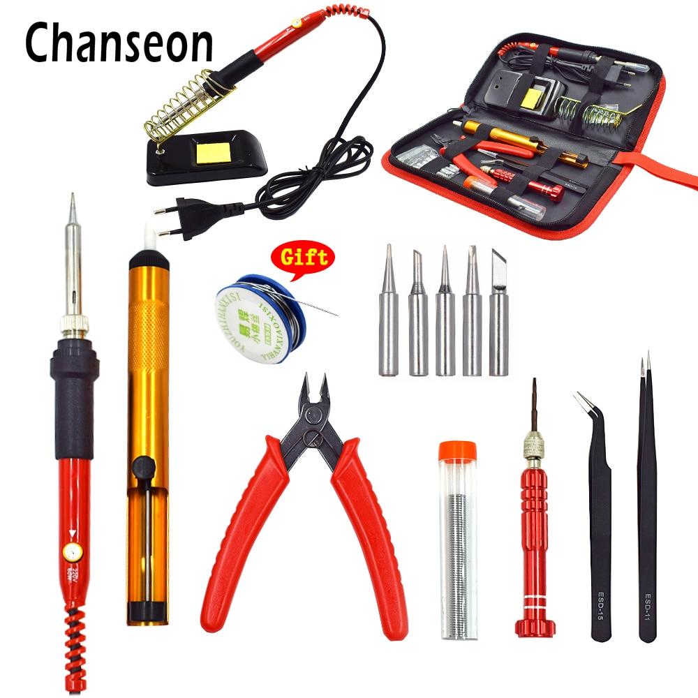 Chanseon Neue EU 220 v UNS 110 v 60 watt Einstellbare Temperatur Elektrische Lötkolben Kit Schweißen Reparatur Werkzeug Set mit Tools Tasche