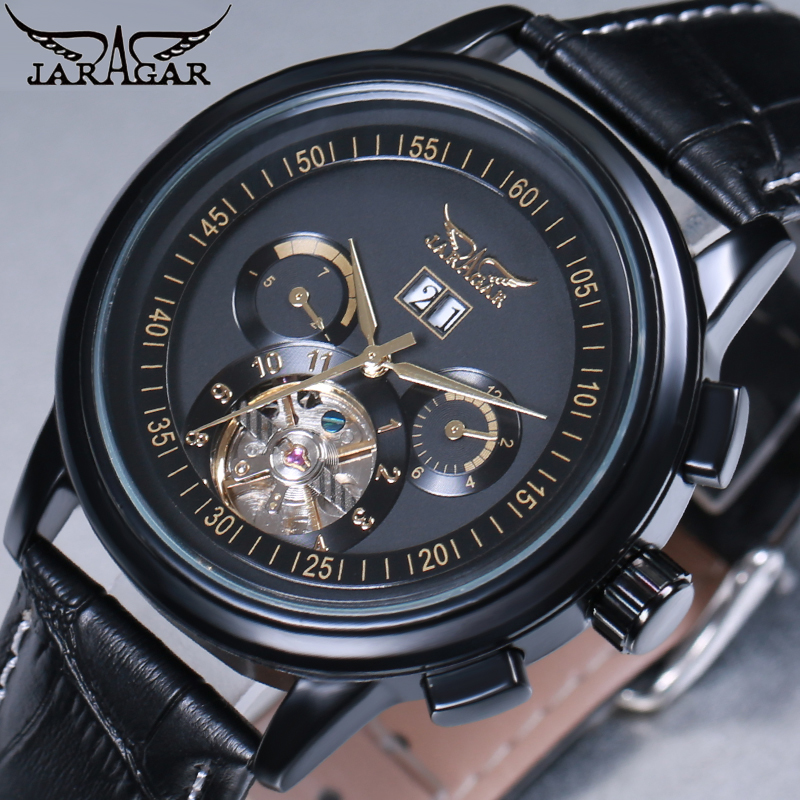 лучшая цена JARAGAR Skeleton Tourbillon Mechanical Watch Men Automatic Classic Rose Gold Leather Mechanical Wrist Watches Reloj Hombre 2018