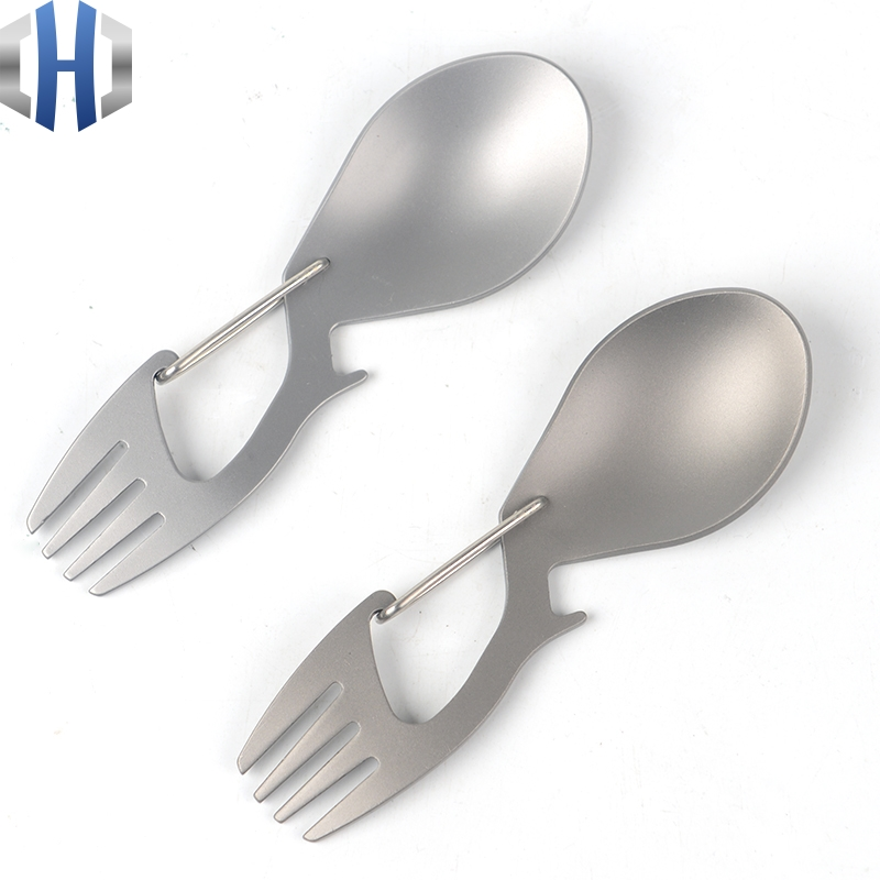 Pure Titanium Multi-function Fork Spoon Titanium Spoon With Bottle Opener Stainless Steel Fork Spoon Outdoor Camping Tableware