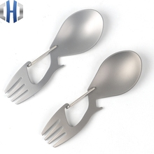 Pure Titanium Multi-function Fork Spoon With Bottle Opener Stainless Steel Outdoor Camping Tableware