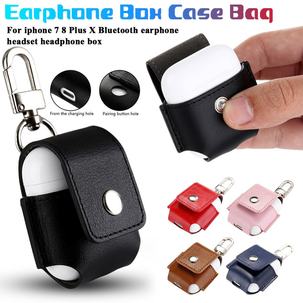 Leather Headphone Protector Bag Pouch Protection Cover Vase Box Protective Case for iPhone 7 8 Plus X Bluetooth Earphone Headset