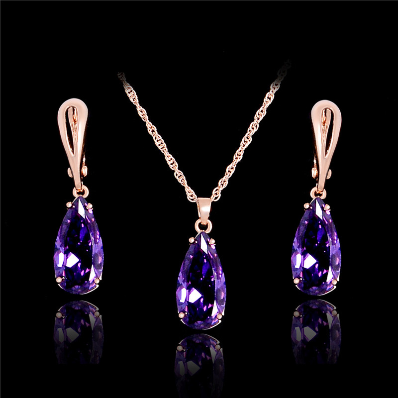 QCOOLJLY Shiny Water-Shape Cubic Zirconia Jewelry Sets Gold Color CZ Collar Pendant Necklace Earrings Jewelry Gift