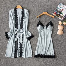 купить Daeyard Silk Robe And Gown Set For Women Sexy Lace Trim Robe And Night Dress 2Pcs Pajamas Nightdress Sleepwear Casual Homewear дешево