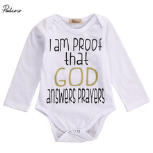 Newborn Baby boys Girls Letter God Bodysuits onesie Infant Babies Kids Cute Printed Bodysuit one-pieces Outfits Kids Clothing(China)