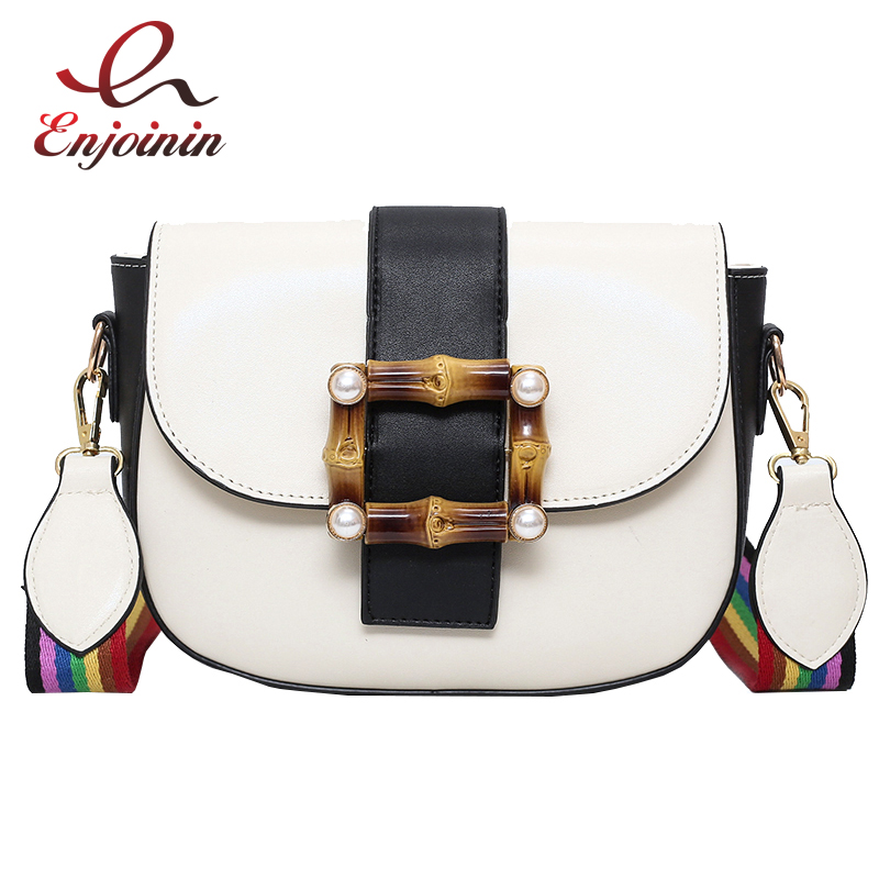 Bamboo pants pu leather rainbow shoulder strap ladies saddle bag casual bag shoulder bag purse crossbody