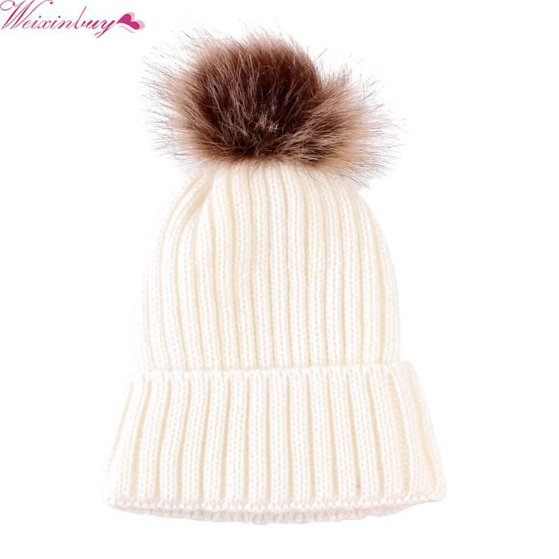 WEIXINBUY Kid Fur Ball Baby Hat Girls Winter Hat For Children Girl Warm Hat Beanies Baby Cap