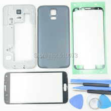 Original Full Housing For Samsung Galaxy S5 Middle Frame Bezel+Front Glass Lens Adhesive Chassis for i9600 G900+Free Tools