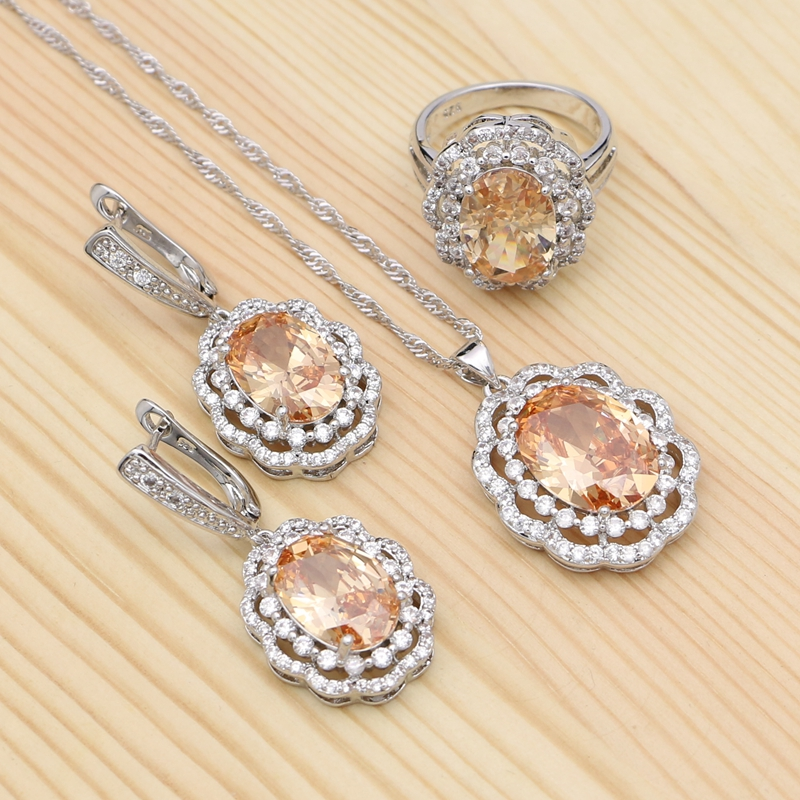 Pendant Necklace Ring-Earrings Jewelry-Sets Crystal Gifts 925-Silver Vintage Cubic-Zirconia