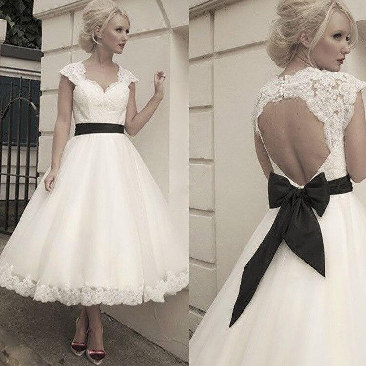 European Retro short lace wedding dresses plus size 2 12 (ling)-in ...