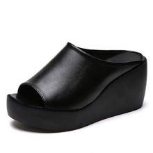 Sandals and slippers women wear new fashion wild thick platform wedge high heel outdoor summer fish mouth shoes стоимость