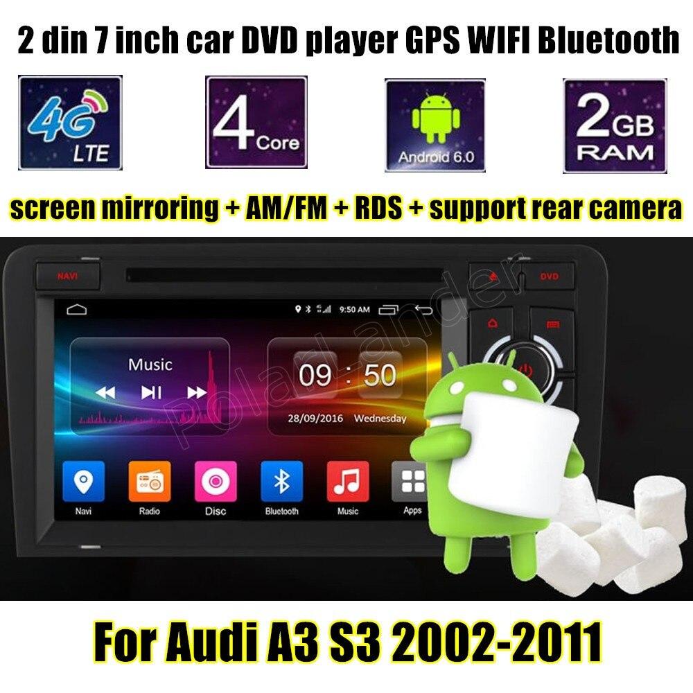 Lecteur Radio DVD voiture GPS 7 pouces 2 din stéréo android 6.0 Bluetooth pour Audi A3 S3 2002-2011 support caméra arrière