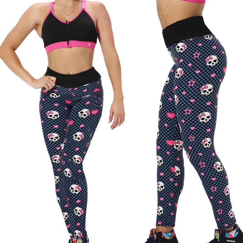 Women Sports Leggings Yoga Trousers Running Workout Fitness Gym Athletic Pants Print Skull