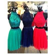2016 Sexy A-Line High Neck Grün Abendkleid Mit Perlen und Kristall Short Chiffon Frauen Abendkleid Benutzerdefinierte vestido de festa