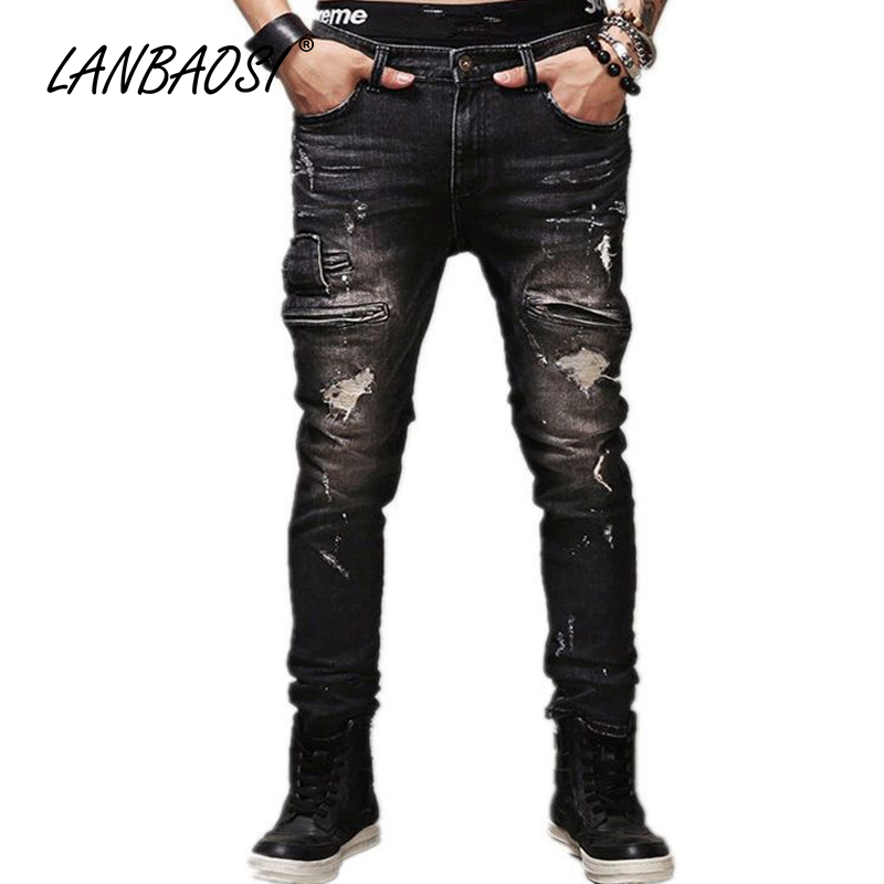 LANBAOSI JEANS Mens Ripped Jeans Pants Casual Boys Black Denim Pant Multi Pockets Cotton Hole Torn Straight Cowboy Trousers