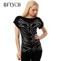 BFDADI 2017 Primavera Nueva Camiseta de Las Mujeres de color Sólido Sexy Lentejuelas Casual Tops Manga Corta T-shirt Camisetas Largas 9253