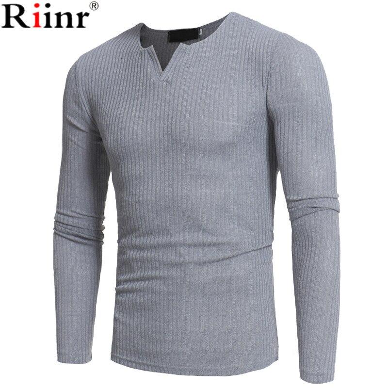Riinr 2018 бренд Для мужчин свитер осень-зима трикотажные сплошной просто Стиль пуловер Повседневное свитер с v-образным вырезом джемпер мужско...