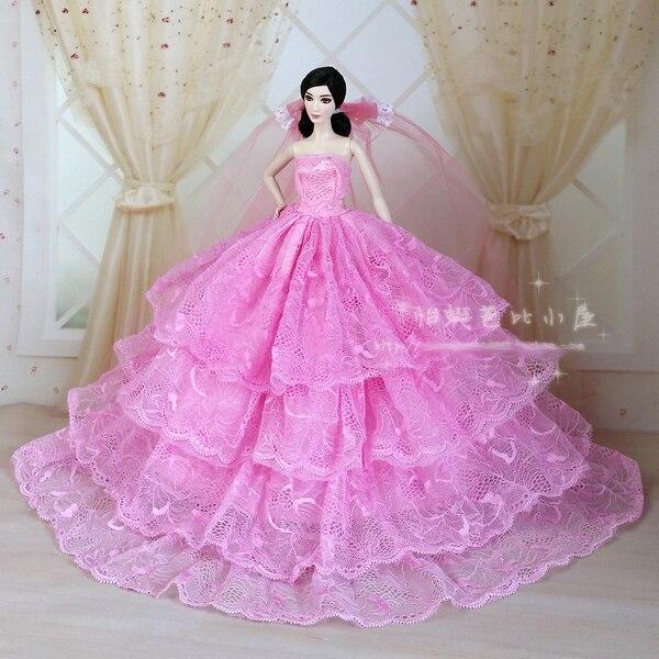 Barbie Pink Wedding Dresses: Pink Wedding Dress For Barbie Doll-in Dolls Accessories