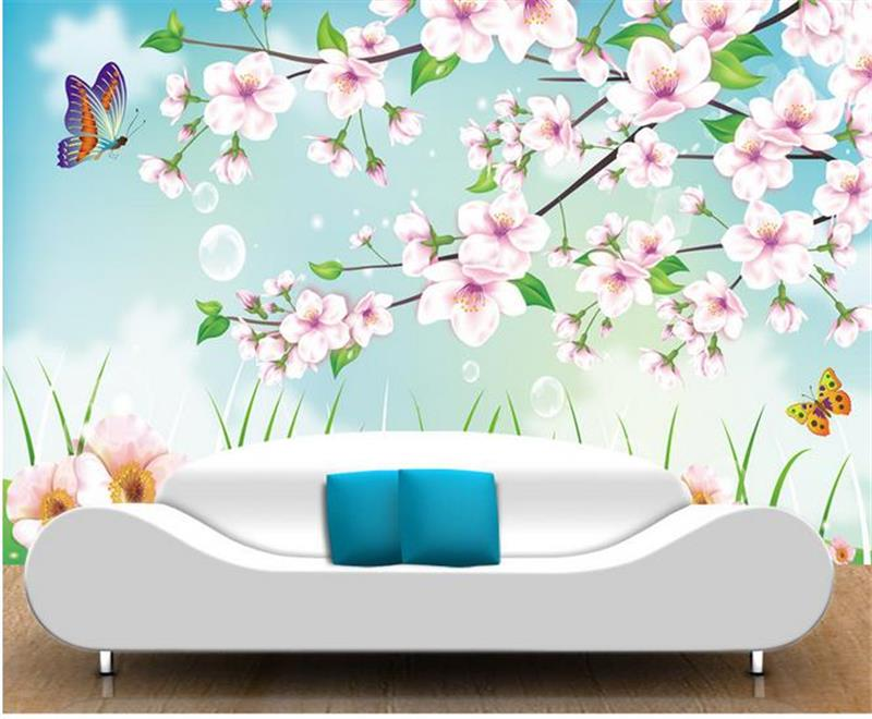 3D wallpaper Custom photo wall paper living room Pastoral scenery flowers 3d sofa TV background mural wall Bedding Room Hotel