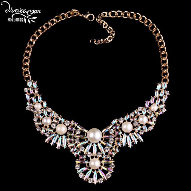 Dvacaman brand 2017 white simulated preal flower statement necklace dvacaman brand 2017 white simulated preal flower statement necklace shine ab crystal choker collar necklace jewelry mightylinksfo