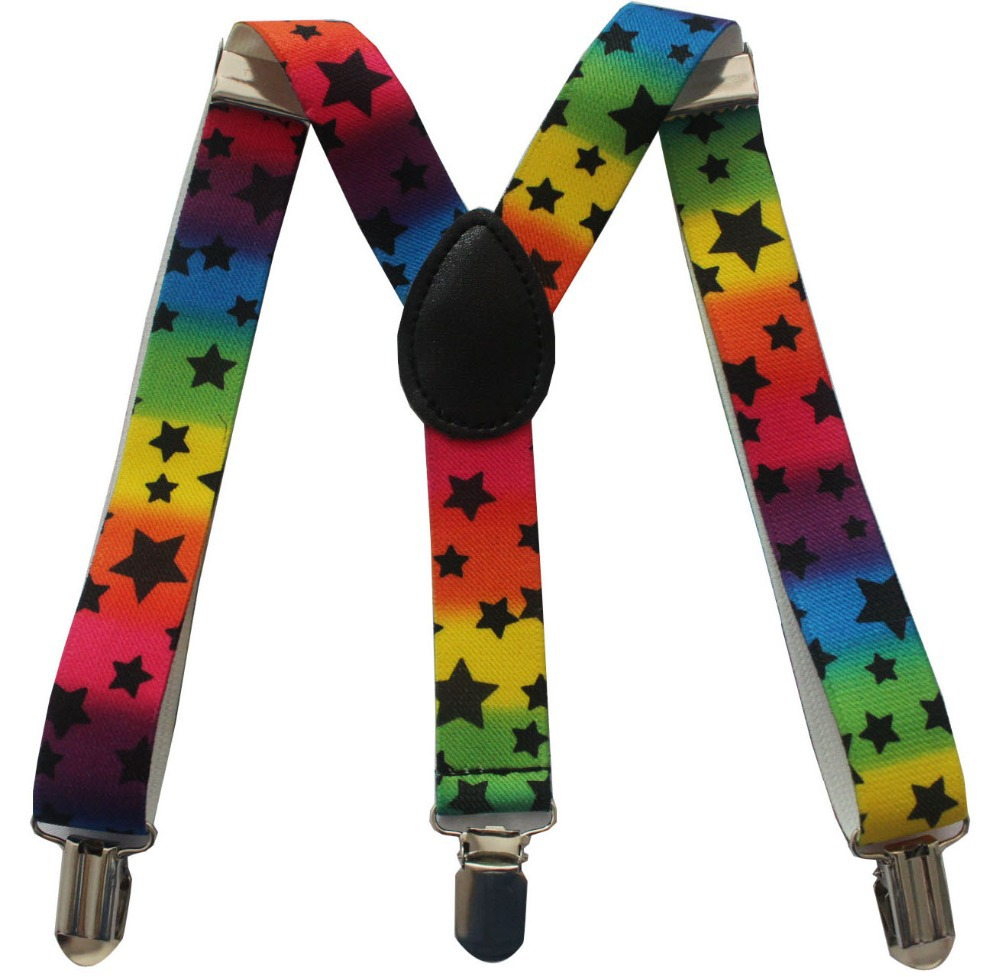 2018 New Fashion 1 Inch Adjustable Clip On Rainbow Striped Star Toddler Suspenders Braces For Children Kids