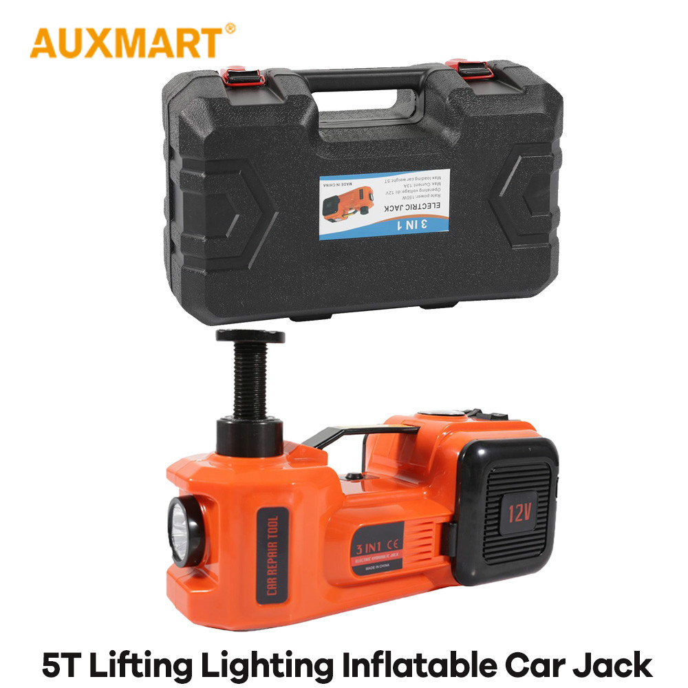 Auxmart 3 functions Car Lifting Lighting inflatable electric hydraulic jack 5 Ton 12V Multi function wheel Maintenance Tool