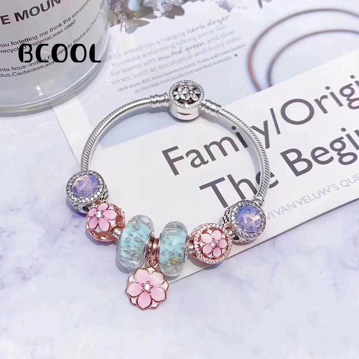 BCOOL 100% 925 Sterling Silver 1:1 Original Copy 2019 Womens Bracelet Magnolia Crystal Beads Charm Jewelry Silver Free PackageBCOOL 100% 925 Sterling Silver 1:1 Original Copy 2019 Womens Bracelet Magnolia Crystal Beads Charm Jewelry Silver Free Package