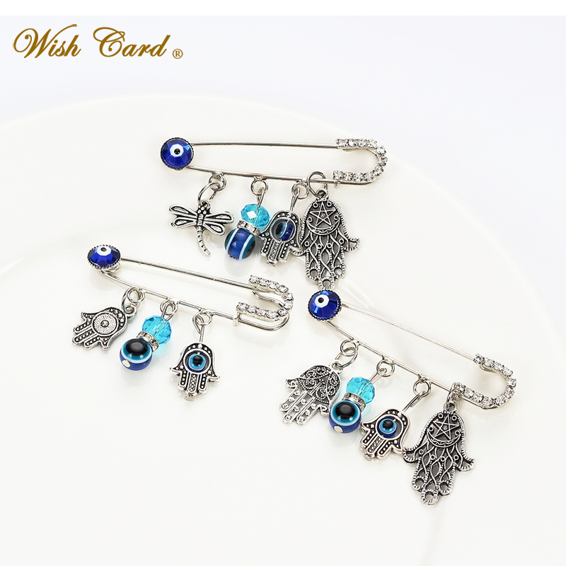 Wish Card Turkish Blue Lucky Eyes Pins Hand Of Fatima Dragonfly Elephant Tortoise Owl Brooch Brithday Festival Gift Ey5066 Spare No Cost At Any Cost Brooches