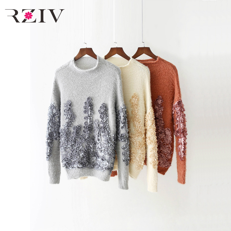 RZIV Fall of 2017 women sweater casual pure color floral embroidery decorative sweater