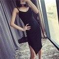 Diseñador de la Marca del verano breve estilo de algodón side vent vestido slip vestidos de liga Sexy vestido de una sola pieza
