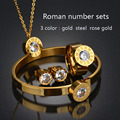 Top Quality 316l Stainless Steel Roman Numerals 3 Colors 7 Colors CZ Stone Wedding Jewelry Set For Valentine's Day Gifts