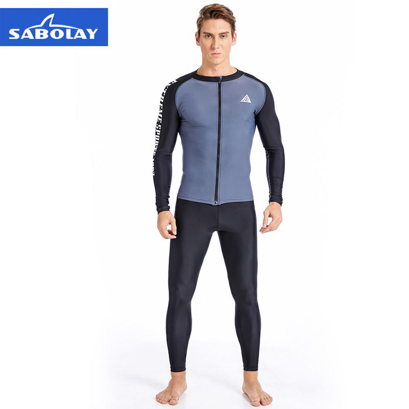 SABOLAY Men's 2018 New Slim Solid color Long sleeves Two-Piece Suits surf Split swimsuit Sportswear Swim Rash Guards pink lace up design long sleeves top and pleated design skirt two piece outfits