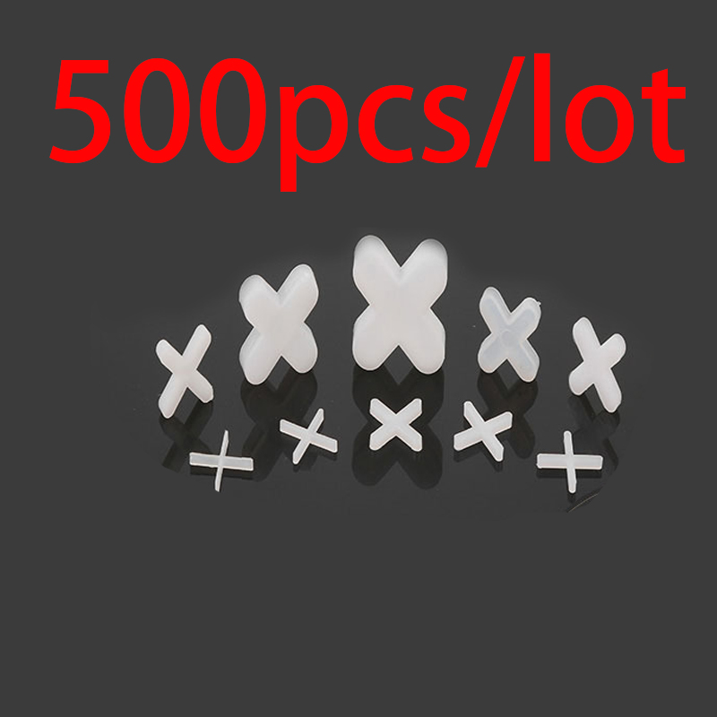 500pcs 1.0mm Plastic Tile Spacer Cross Tiling Ceramic Tilers Plumbers White Cross Clips For Reuseable Tile Leveling System