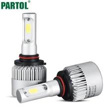 Partol S2 72W 9005/HB3 COB LED Headlight Bulbs Conversion Kit 8000LM 6500K Single Beam All In One Car LED Headlamp Fog Light 12V