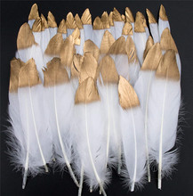 10pcs/lot Gold Dipped Natural Goose Feather for Crafts White Feathers For Jewelry Making Plume Decor Wedding Decoration