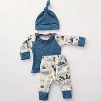 3pcs Newborn Baby Boys Girls Fashion Mountain Print T Shirt Tops Long Pants Hat Trousers Outfit
