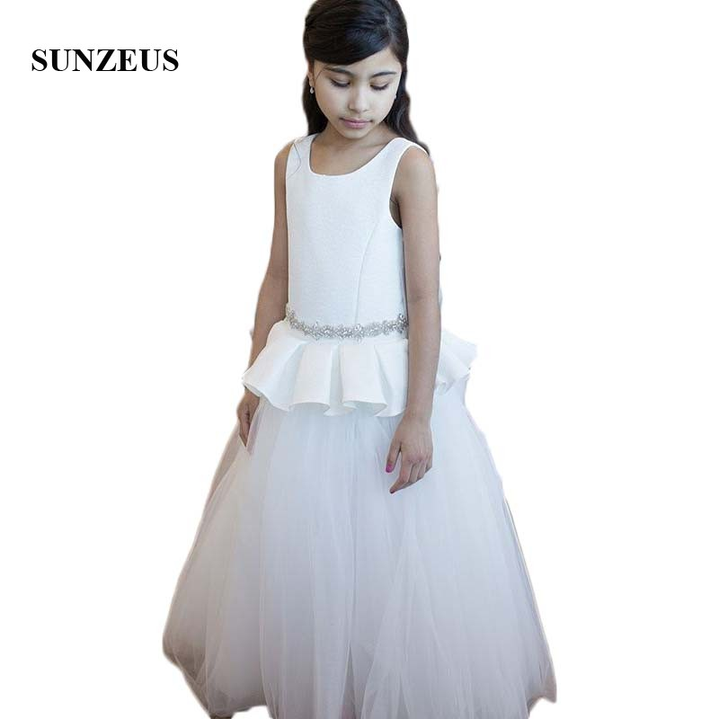 Top Satin Peplum A-Line   Flower     Girls     Dresses   Scoop Beaded Waist Special Occasion   Dresses   for Kids White Tulle Skirt SF17