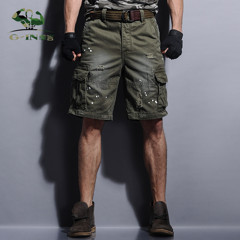 2016 Brand Fashion Summer High Quality MenS Loose Cargo Shorts Multi-pocket Solid Men Short Casual Knee Length Shorts