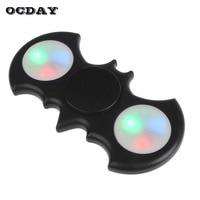 OCDAY LED Light Fidget Spinner Plastic EDC Bat Hand Spinner For Autism And ADHD Focus Anti