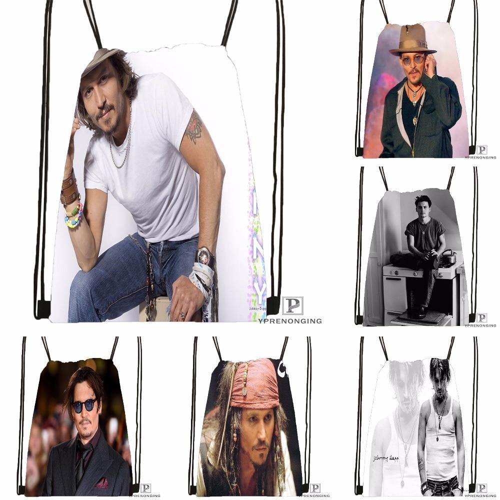 Custom Johnny Deep #1 Drawstring Backpack Bag Cute Daypack Kids Satchel (Black Back) 31x40cm#180531-02-24