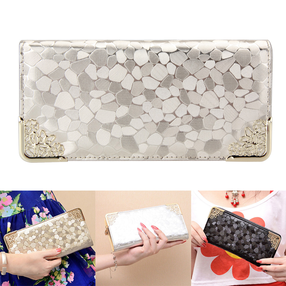 Stone Patterns Woman Wallets Long Designer Woman Purse Bing Day Clutch Metal Frame Lady Wallet With Wristband Gold Silver Purse