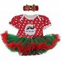 Festival de Natal Roupas de Bebê Conjunto Romper Papai Noel Vestido de Roupa Da Menina Da Criança Presente de Aniversário para Meninas Recém-nascidas Do Bebê + Headband