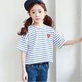 spring summer 2017 new kids t-shirt girls children clothing character blue white striped girls tshirt short sleeve tops clothes