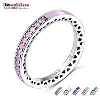 LZESHINE New Cute 925 Sterling Silver Pink Radiant Hearts Of Ring Pink Enamel Clear CZ Engagement