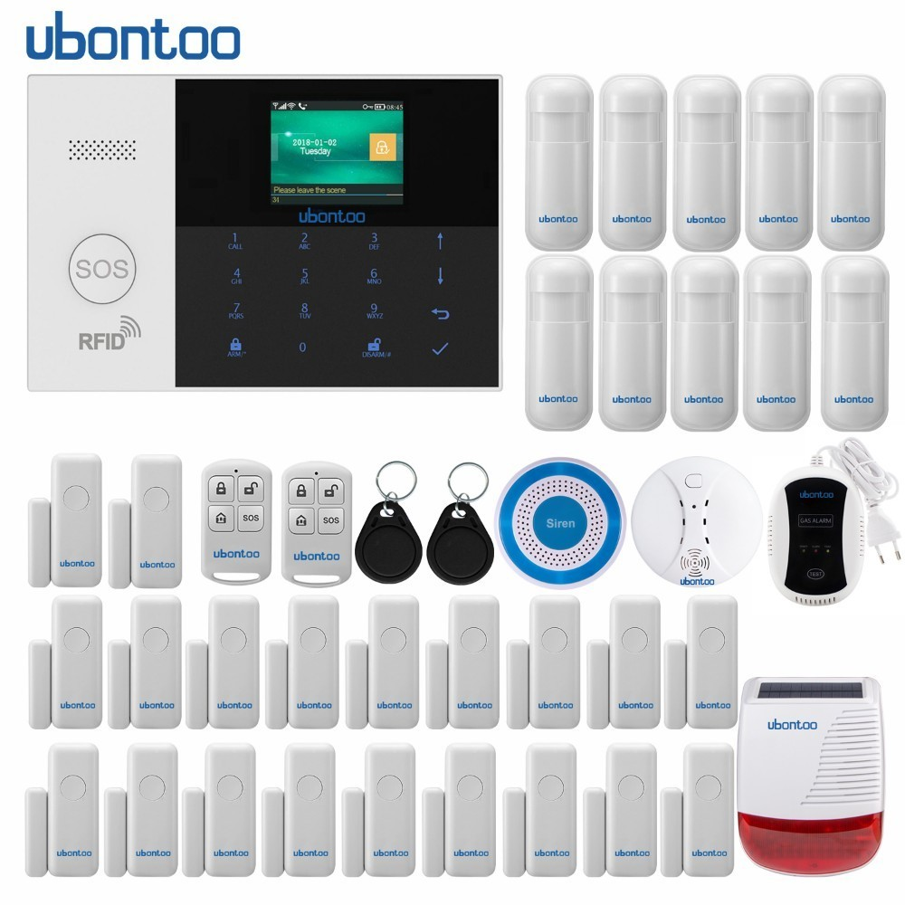 ubontoo Wireless Burglar Sensor Home Security WIFI RFID SIM GSM Alarm System IOS Android APP Control LCD Touch Keyboard wireless sim gsm home rfid burglar security lcd touch keyboard wifi gsm alarm system sensor kit english russian spanish french