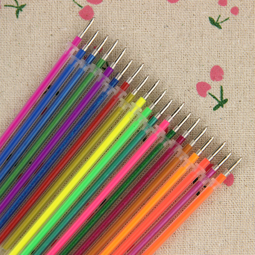 36 Colors Gel Pen Refill Flash Fluorescent Metal Colors for Children'S Painting Writing Office Stationery Gift 36PCS/Lot