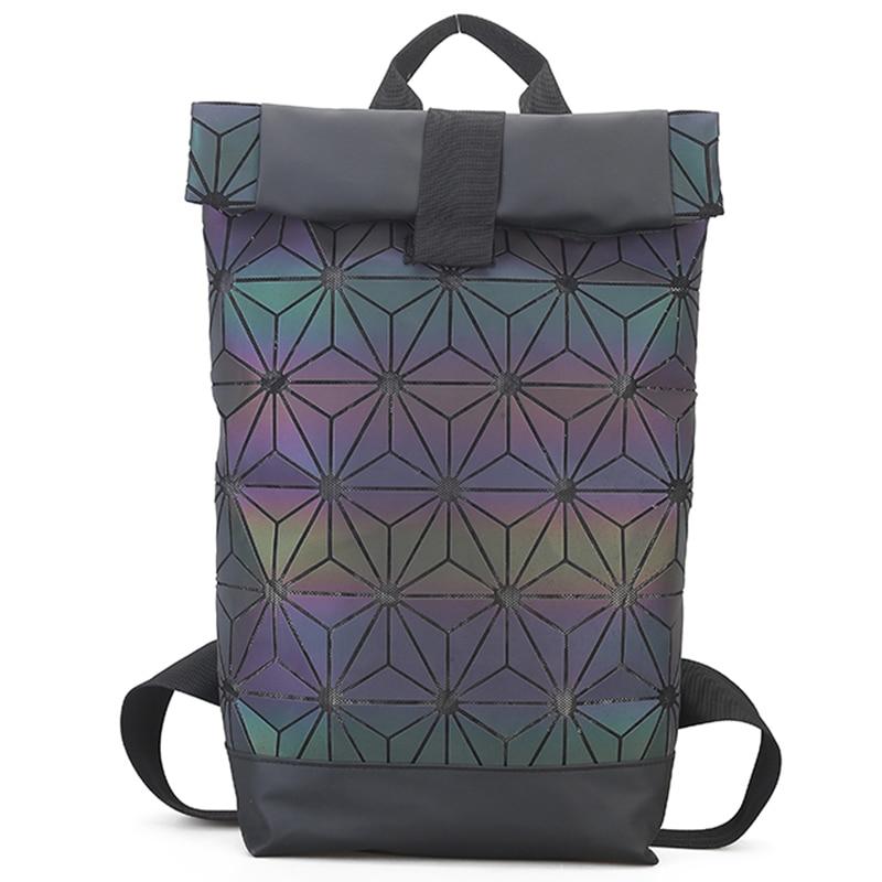 Large Capacity Women Backapck Feminine Geometric Sequin Female Backpacks For Teenage Girls Bagpack Fashion Holographic Backpack