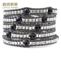 LotusMann Retro grey leather cord and metal bead 5 small wooden skeleton 5 times spiral wound bracelet