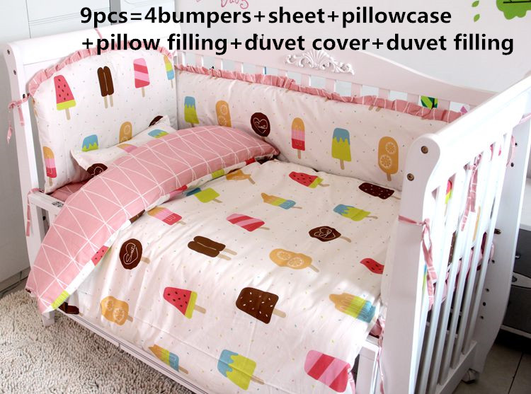 Promotion! 6/7/9PCS Baby Bedding Set Cartoon Crib Bedding Set for Girls boys Baby Crib Bedding Set,120*60/120*70cm