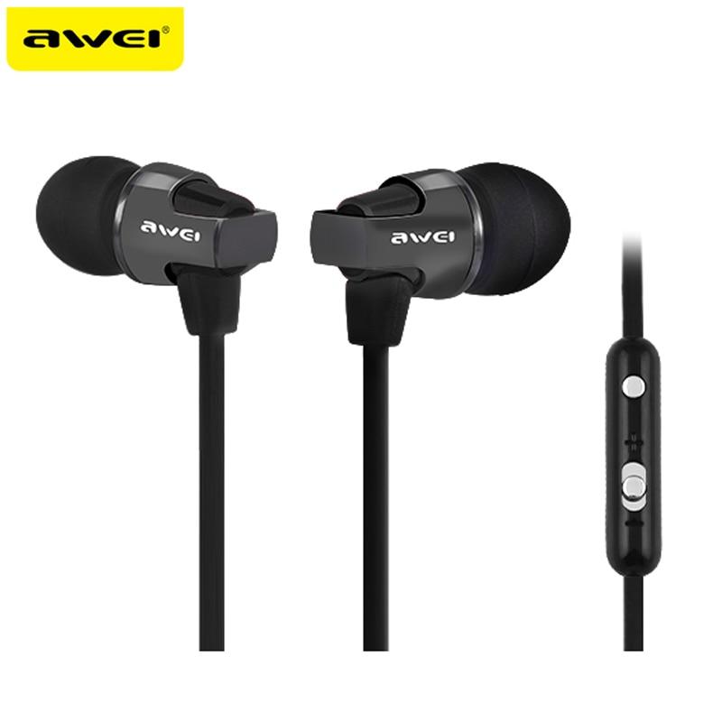 AWEI ES-860HI Super Bass HI-FI Sound Headphones Stereo Earphones Metal Headset In-Ear fone de ouvido For Phone