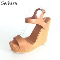 Braun Keilabsatz Frauen Sandalen Großhandel China Schuhe Frauen Schuhe Modell Für Frauen Plattform Fersen Offenen Toe Real Bilder Sandale